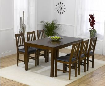 Oxford 150cm Dark Solid Oak Dining Table with Oxford Chairs