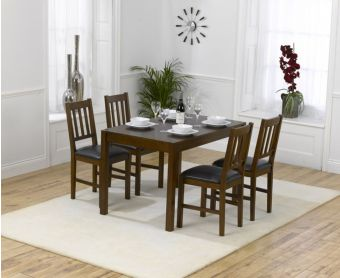 Oxford 120cm Dark Solid Oak Dining Table with Oxford Chairs