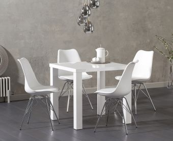 Atlanta 80cm White High Gloss Dining Table with Calvin Chrome Leg Chairs