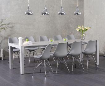Jacobi Light Grey High Gloss Extending Table with Calvin Chrome Leg Chairs