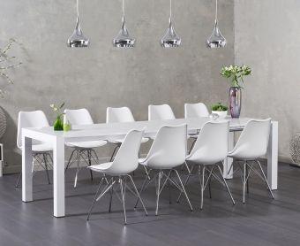 Jacobi White High Gloss Extending Table with Calvin Chrome Leg Chairs