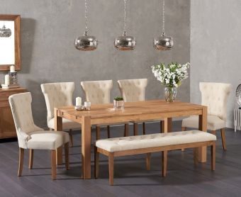 Verona 180cm Solid Oak Dining Table with Cora Fabric Chairs and Cora Cream Fabric Bench