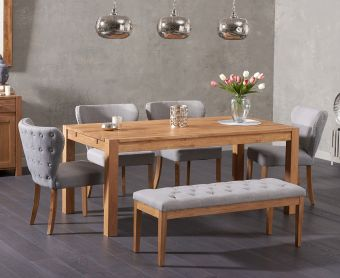 Verona 180cm Solid Oak Dining Table and Isabella Fabric Chairs and Cora Grey Fabric Bench