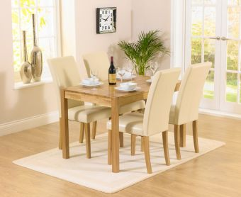 Oxford 120cm Solid Oak Dining Table with Albany Cream Chairs