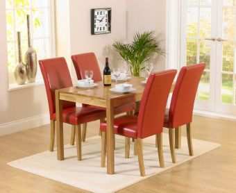 Oxford 120cm Solid Oak Dining Table with Albany Red Chairs