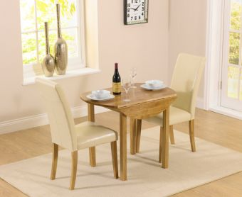 Oxford 90cm Solid Oak Drop Leaf Extending Dining Table with Albany Cream Chairs