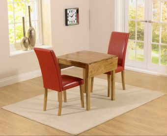 Oxford 70cm Solid Oak Extending Dining Table with Albany Red Chairs