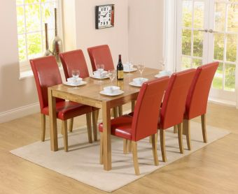 Oxford 150cm Solid Oak Dining Table with Albany Red Chairs