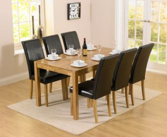Oxford 150cm Solid Oak Dining Table with Albany Black Chairs