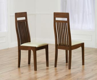 Monaco Dark Solid Oak Cream Dining Chairs (Pairs)