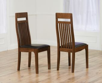 Monaco Dark Solid Oak Brown Dining Chairs (Pairs)