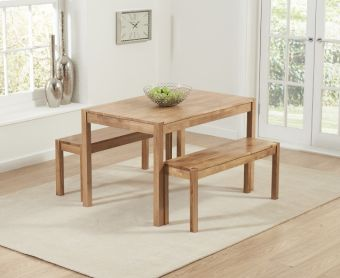Oxford 120cm Solid Oak Dining Table with Benches