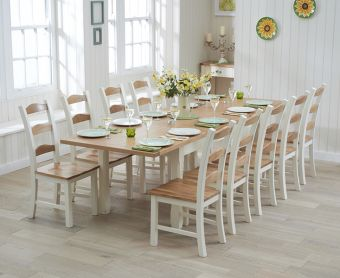 Somerset 180cm Oak and Cream Extending Dining Table with Chairs