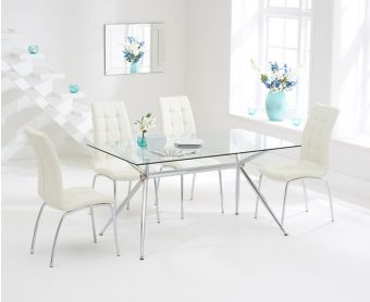 Savelli 150cm Glass Dining Table with Cream Calgary Chairs