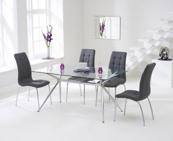 Savelli 150cm Glass Dining Table with Charcoal Grey Calgary Chairs