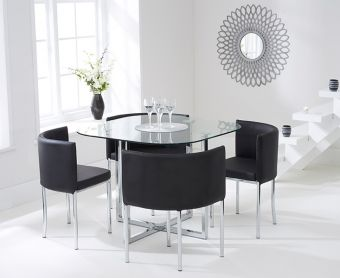 Algarve Glass Stowaway Dining Table with Black High Back Stools