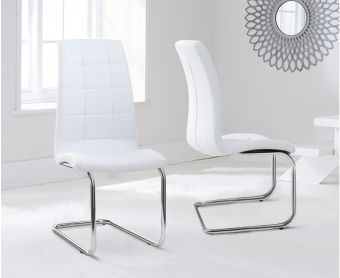 Lorin White Faux Leather Hoop Leg Dining Chairs (Pairs)