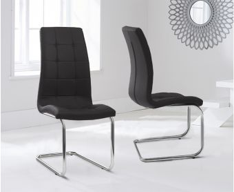 Lorin Black Faux Leather Hoop Leg Dining Chairs (Pairs)