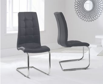 Lorin Grey Faux Leather Hoop Leg Dining Chairs (Pairs)
