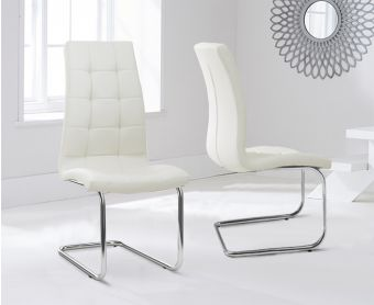 Lorin Cream Faux Leather Hoop Leg Dining Chairs (Pairs)
