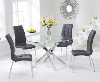 Denver 110cm Glass Dining Table with Grey Calgary Chairs