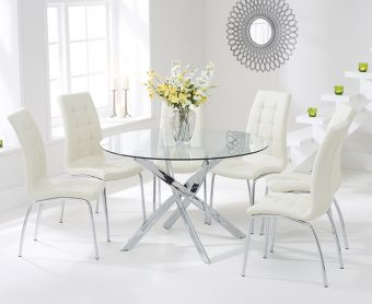 Denver 120cm Glass Dining Table with Cream Calgary Chairs