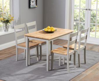 Chiltern 114cm Oak and Grey Dining Table Set with Chairs