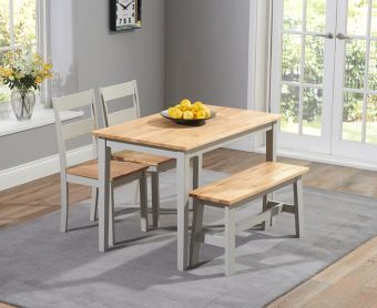 Chiltern 114cm Oak and Grey Dining Set with Chairs and Bench