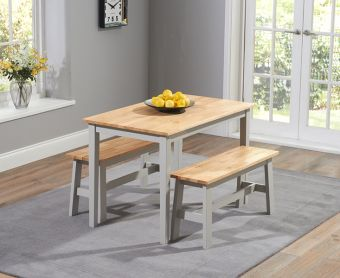 Chiltern 114cm Oak and Grey Dining Table Set with Benches