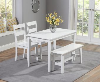 Chiltern 114cm White Dining Set with Bench and Chairs