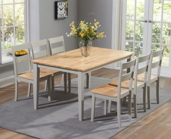 Chiltern 150cm Oak and Grey Dining Table Set with Chairs