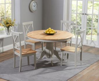 Epsom Oak and Grey 120cm Round Pedestal Dining Set