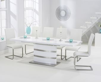 Babington 160cm White High Gloss Extending Dining Table with Ivory-White Malaga Chairs
