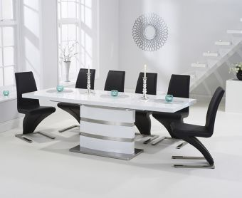 Babington 160cm White High Gloss Extending Dining Table with Ivory-White Hampstead Z Chairs
