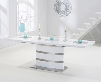 Babington 160cm White High Gloss Extending Dining Table