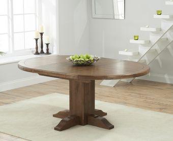 Torino Dark Solid Oak Extending Pedestal Dining Table