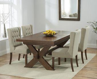 Bordeaux 160cm Dark Solid Oak Extending Dining Table with Beige Safia Fabric Dark Oak Leg Chairs