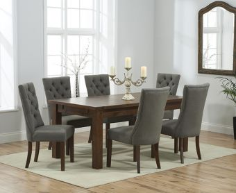 Rustique 180cm Dark Solid Oak Extending Dining Table with Anais Fabric Dark Oak Leg Chairs
