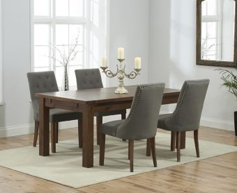 Rustique 150cm Dark Solid Oak Extending Dining Table with Pacific Fabric Dark Oak Leg Chairs