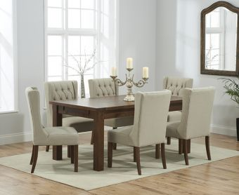 Rustique 180cm Dark Solid Oak Extending Dining Table with Safia Fabric Dark Oak Leg Chairs