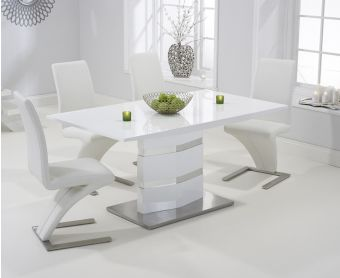 Serena 160cm White High Gloss Dining Table with Hampstead Z Chairs