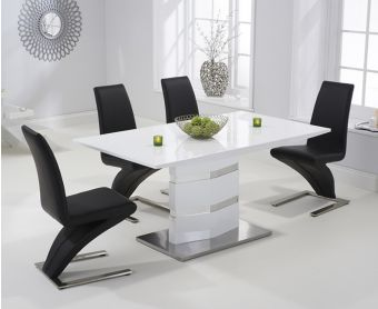 Serena 160cm White High Gloss Dining Table with Black Hampstead Z Chairs