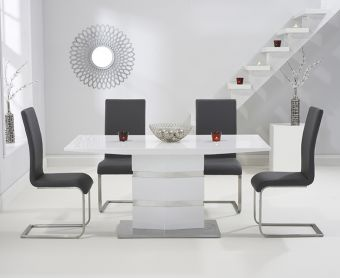 Serena 160cm White High Gloss Dining Table with Malaga Chairs