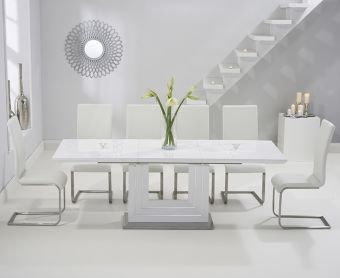 Tula 160cm White High Gloss Extending Dining Table with Ivory-White Malaga Chairs