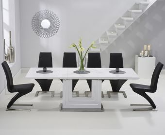 Tula 160cm White High Gloss Extending Dining Table with Black Hampstead Z Chairs