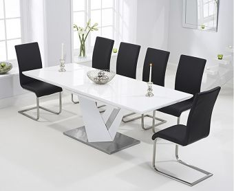 Harmony 160cm White High Gloss Extending Dining Table with Black Malaga Chairs