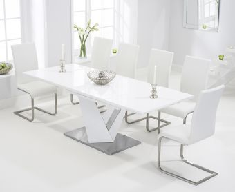 Harmony 160cm White High Gloss Extending Dining Table with Malaga Chairs
