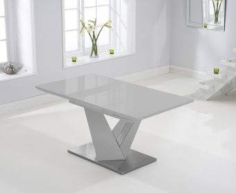 Harmony 160cm Extending Light Grey High Gloss Dining Table