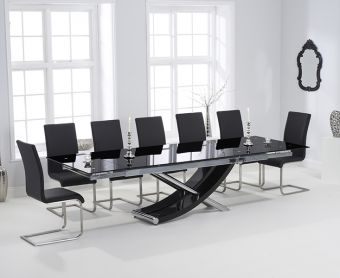 Hilton 210cm Extending Black Glass Dining Table with Malaga Chairs