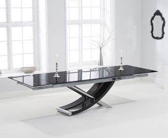 Hilton 210cm Extending Black Glass Dining Table
